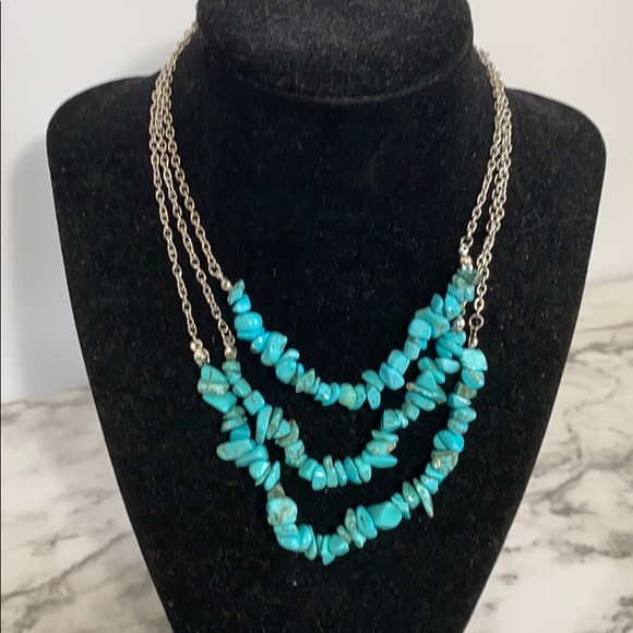 3/$17 paparazzi turquoise multi strand necklace